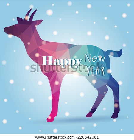 Greeting card with bright design Merry Christmas and Happy New Year, 2015 of goat (chinese). Great for your design with triangle elements - stock vector