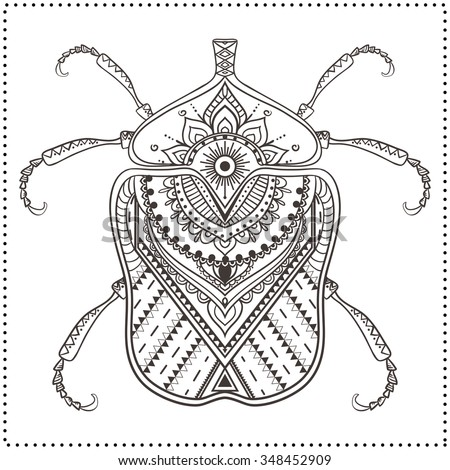 Greeting card with bug. Ornamemtal of Insect made in vector. Perfect cards, or for any other kind of design, coloring book pages. Seamless hand drawn map with  bug ornamental. - stock vector