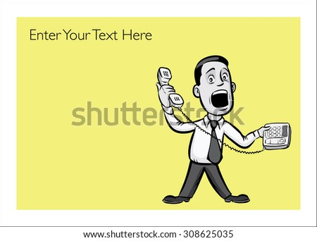 Greeting card with businessman answering a phone - personalize your cardâ?? with a custom text - stock vector