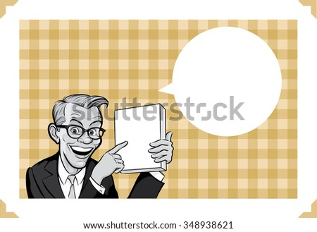 Greeting card with businessman showing product - just add your text - stock vector