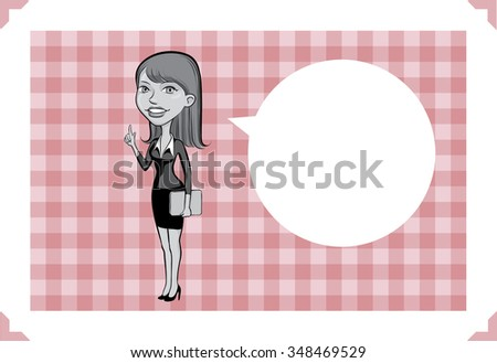 Greeting card with cartoon business woman pointing - place your custom text