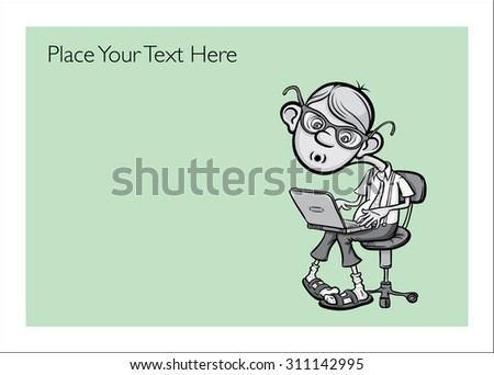 Greeting card with cartoon geek boy - personalize your card with a custom text - stock vector