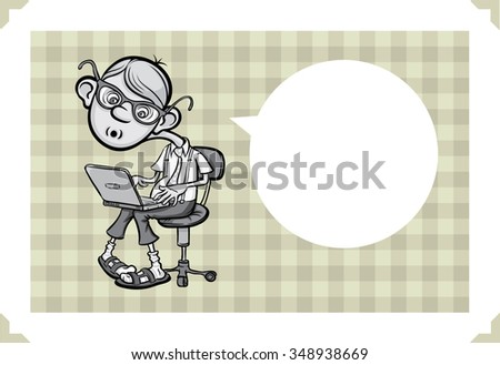 Greeting card with cartoon geek - just add your text - stock vector