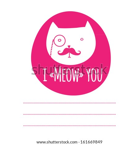 greeting card with cat - stock vector