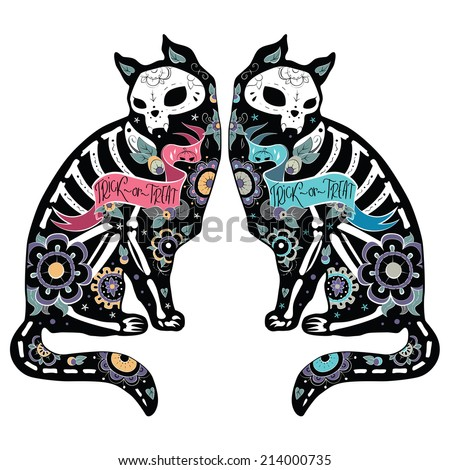 Greeting card with cats, skeletons with floral patterns. Colorfull cats. Vector illustration  - stock vector