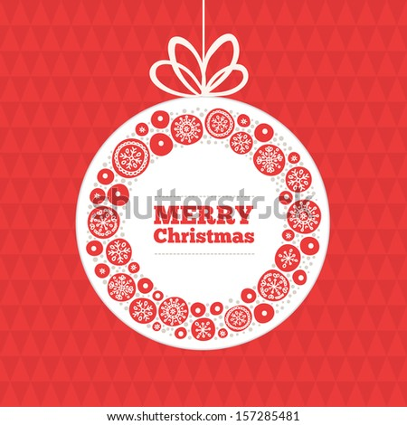Greeting card with christmas ball - stock vector
