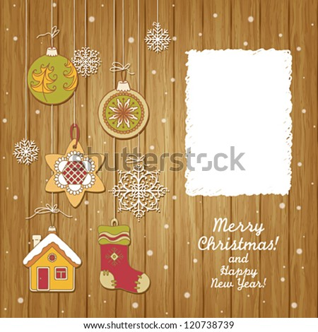 Greeting card with Christmas decoration