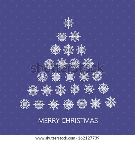 Greeting Card with Christmas Tree, paper snowflakes and text Merry Christmas. Winter template, applique background. Vector illustration. EPS10.  - stock vector