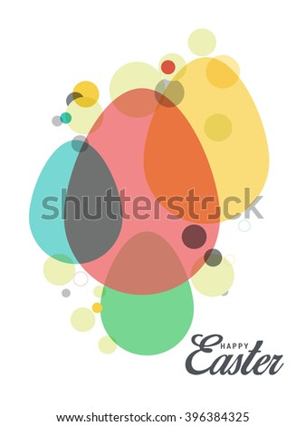 Greeting card with colorful egg for easter celebration holiday. - stock vector