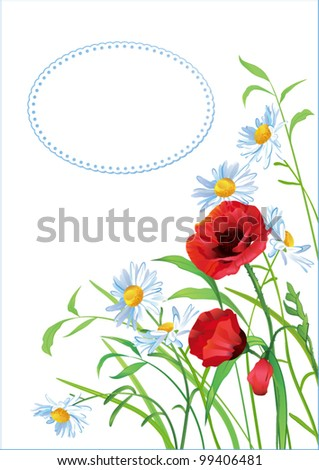 Greeting card with colorful flowers and place for text - stock vector