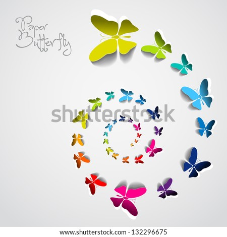 Greeting card with colorful paper butterflies in spiral - vector - stock vector