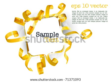 greeting card with curly golden swirly ribbon on white background. Blank frame gift tag. eps10 vector