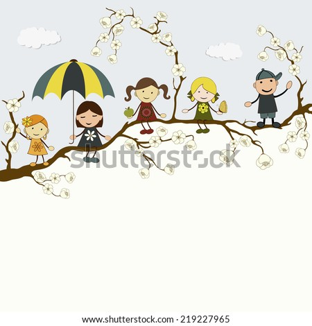 Greeting card with cute happy cartoon kids and place for text - stock vector