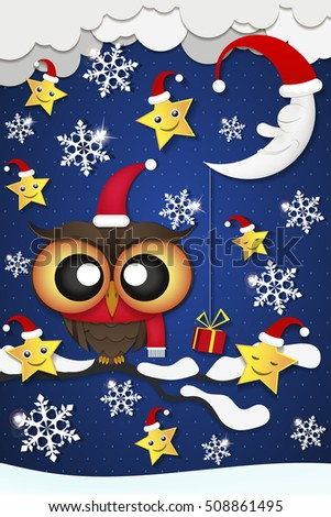 Greeting card with cute owls in Santa hats.