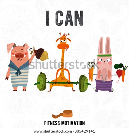 Greeting card with cute pig,rabbit and giraffe. Summer is coming -Fitness motivation. Good for sport motivation posters, sport editions, fitness club, magazines and websites.  - stock vector