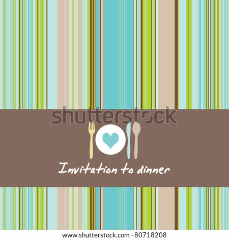 Greeting card with cutlery and plate on a background of retro stripes - stock vector