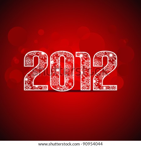 Greeting card with decorative text 2012 with back light and place for your text on red background for New Year & other occasions. - stock vector