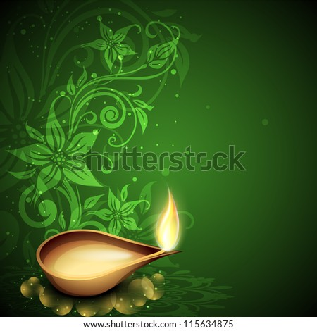 Greeting card with diya for Diwali festival in India. EPS 10. - stock vector