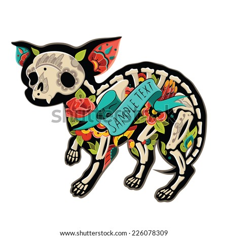 Greeting card with dog chihuahua, skeletons with floral patterns. Colorfull chihuahua. Vector illustration  - stock vector