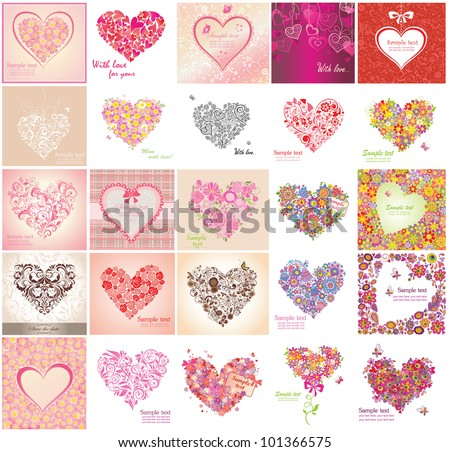 Greeting card with floral heart shapes - stock vector