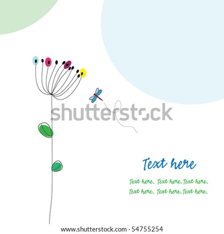 Greeting card with flower and dragonfly - stock vector