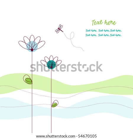 Greeting card with flowers and dragonfly - stock vector