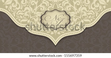Greeting Card with Flowers in a folk style - stock vector