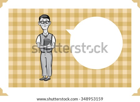 Greeting card with geek student - just add your text - stock vector