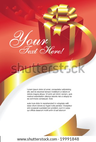 Greeting card with gift box and copy space, vector illustration - stock vector