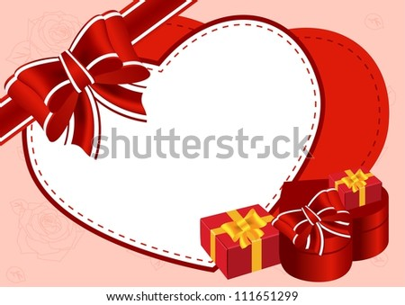 Greeting card with gifts and bow vector illustration