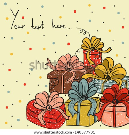 Greeting card with gifts in vector. - stock vector