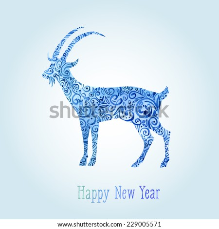 greeting card with goat happy new year 2015 watercolor ornament