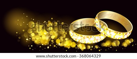 Greeting card with gold wedding rings and golden bokeh.Happy holiday.. - stock vector