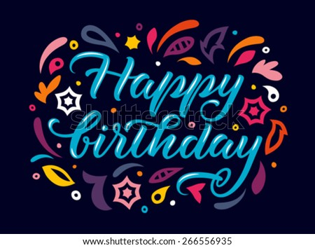 greeting card with handwritten word happy birthday on a dark background - stock vector