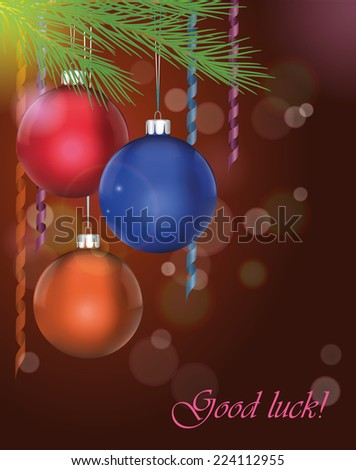 Greeting card with hanging on spruce branch christmas balls and serpentine on dark festive background. Vector illustration. - stock vector