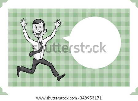 Greeting card with happy businessman - just add your text - stock vector