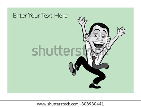 Greeting card with happy jumping businessmen - personalize your card with a custom text - stock vector