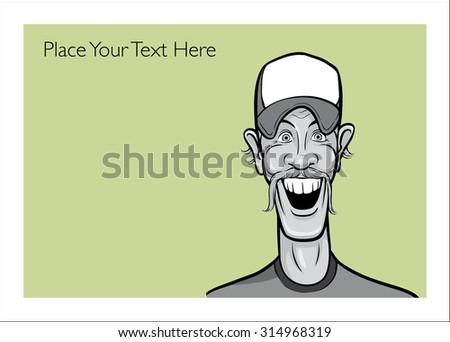 Greeting card with happy redneck man - place your custom text - stock vector