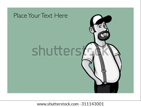 Greeting card with happy truck driver - personalize your card with a custom text - stock vector