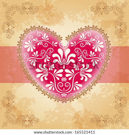 Greeting card with heart. Vector. - stock vector