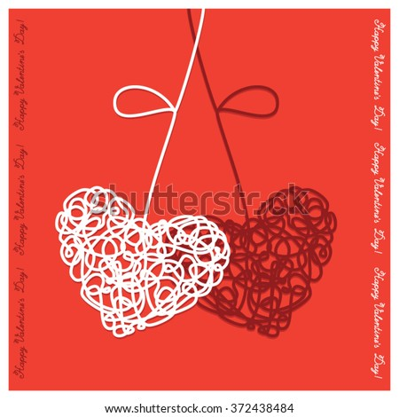 greeting card with hearts of the lines text happy valentine day on a red
