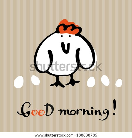 Greeting Card with Hen. - stock vector