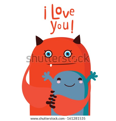 Greeting card with monster - stock vector