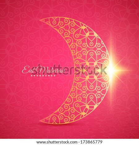 Greeting card with moon for Muslim community festival Eid Mubarak - stock vector