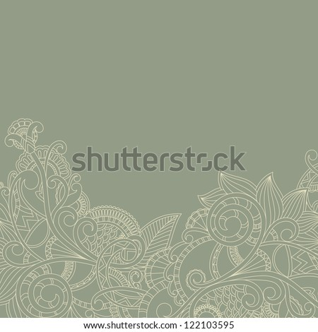 Greeting card with paisley pattern. Floral design - stock vector