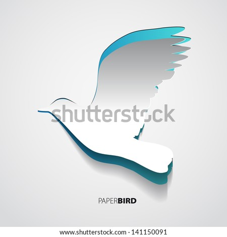 Greeting card with paper blue bird - vector - stock vector