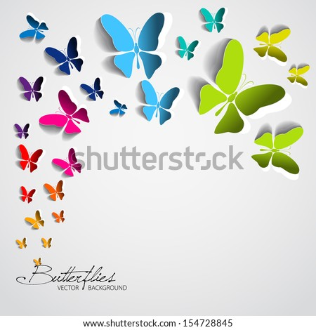 Greeting card with paper butterflies - vector EPS10 - stock vector