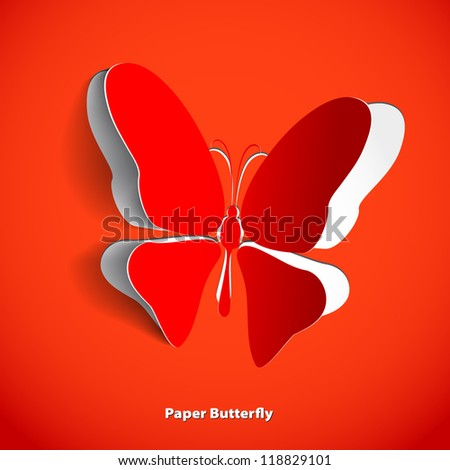 Greeting card with paper butterfly - vector - stock vector