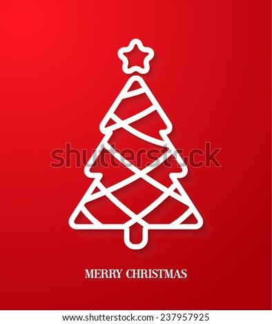 Greeting card with paper cut Christmas tree. Vector Illustration. - stock vector