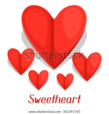 Greeting card with paper hearts. Concept can be used for Valentines Day, wedding or love confession message. - stock vector